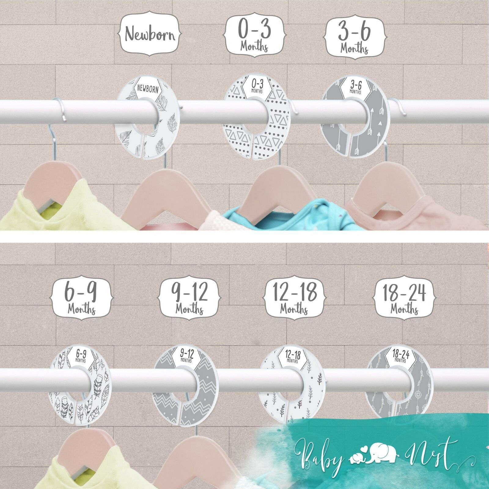 Set of 7 Unisex Boho Dividers for Nursery Clothes Organization Sized Newborn to 24 Months Baby Nest Designs Baby Closet Dividers