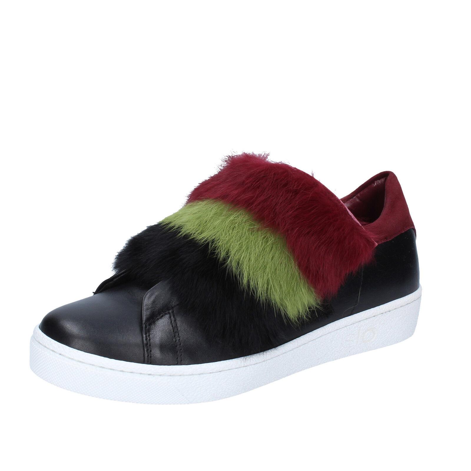 scarpe donna ISLO sneakers ISABELLA LORUSSO 37 EU sneakers ISLO nero bordeaux pelle BZ214-C ba1a32