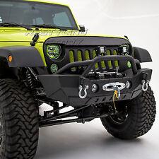 07-17 Jeep Wrangler JK Rock Crawler Stubby Front Bumper+Fog Light Hole+Black