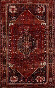 Vintage Traditional Geometric Abadeh Area Rug 5x9 Tribal Oriental Wool Carpet