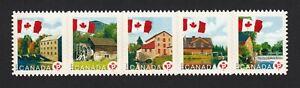 FLAG-OVER-MILLS-DIE-CUT-strip-of-5-stamps-fr-booklet-Canada-2010-2355i-MNH-VF