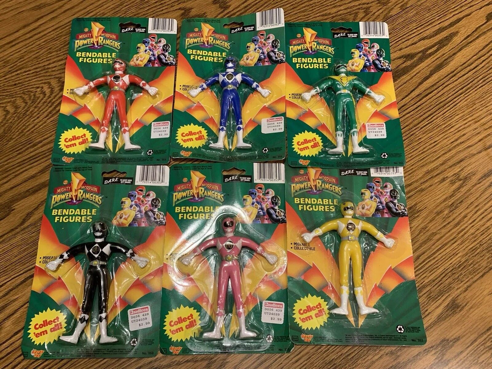 1994 Power Rangers Bendable Figures - Masse of 6- Complete Set, New in Verpackungage