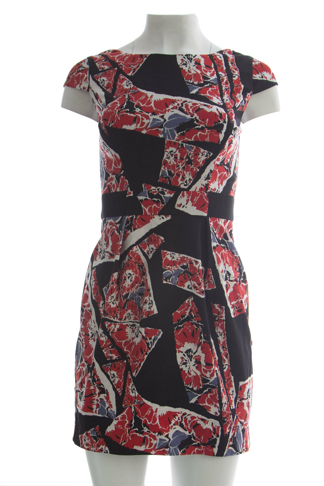 French Connection Women's Riot Red Floral Print Cap Sleeve Dress Sz 2 NWT