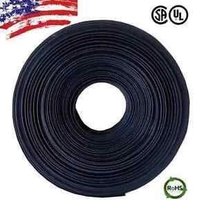 "25 FT. 25' Feet BLACK 1"" 25mm Polyolefin 2:1 Heat Shrink Tubing Tube Cable US UL"