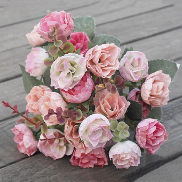 21HEADS ARTIFICIAL SILK FLOWERS ROSE BUNCH Wedding Home Grave Outdoor Bouquet