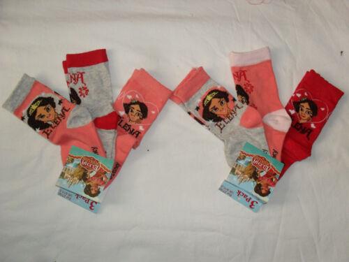 BNWT 3prs Disney Elena of Avalor socks.sizes 6-8.5,9-11.5,12-1.5