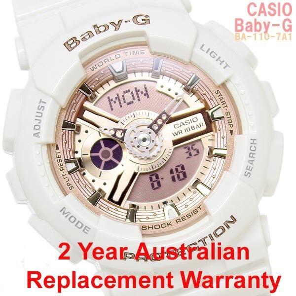 CASIO BABY-G ANALOG DIGITAL WATCH BA-110-7A1 ROSE GOLD BA110-7A1DR 2Y WARRANTY