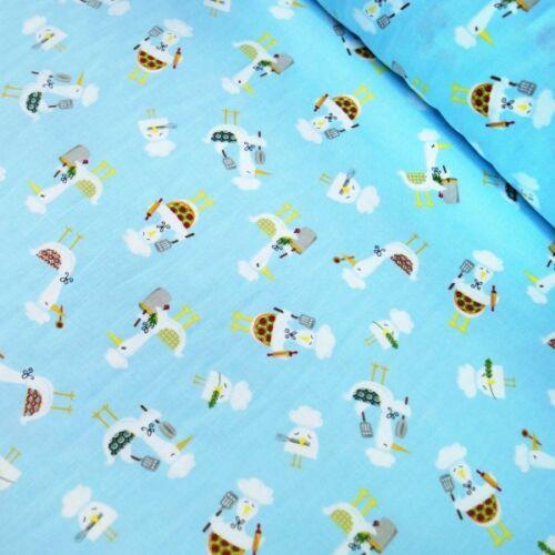 SALE 100/% Cotton Patchwork Fabric Clothworks White Ducks /& Owls Cooking Kitchen
