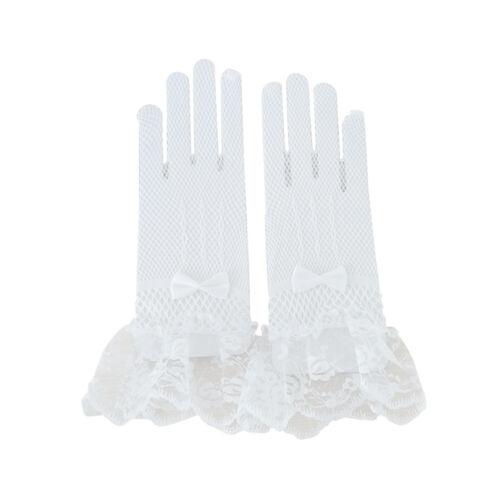 2T Bridal Wedding Veil Elbow Length Satin Edge Diamante Lace Evening Party Glove