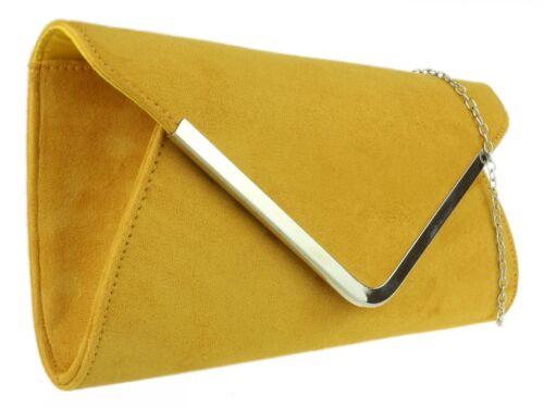New Faux Suede Clutch Bag Plain Handbag Wedding Designer Womens Prom Evening