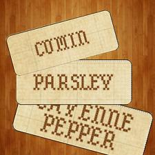 Primitive Vintage Cross Stitch Antique Style Spice Rack Jars Labels Polyester