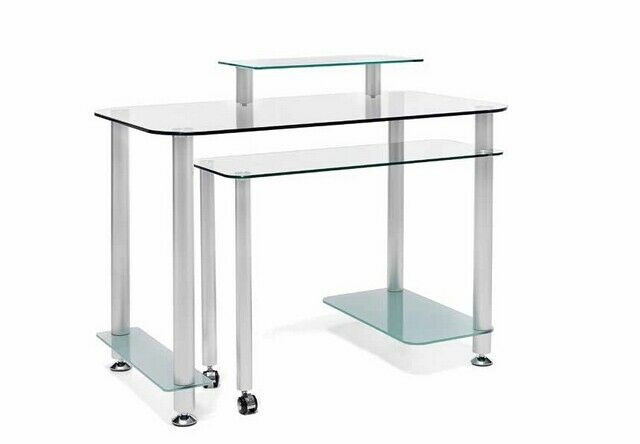 MESA DE OFICINA CIBER c/ala en aluminio y cristal. Ideal para tu...