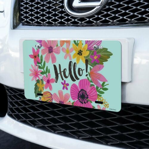 Hello with Pretty Flowers Novelty Metal Vanity Tag License Plate