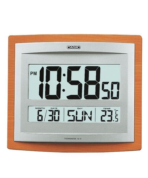 ID-15-5D CASIO WALL CLOCK TEMPERATURE ALARM DIGITAL WOOD AUTO CALENDER ID15S NEW