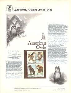 101-13c-American-Owls-1764-1767-USPS-Commemorative-Stamp-Panel
