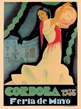 1935 Cordoba Spain Feria de Mayo Spanish Vintage Travel Advertisement Poster