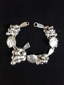 Vintage-Sterling-Silver-Bracelet-Taxco-Grape-Bunch-Leaves-Luster-Mexico-Repair
