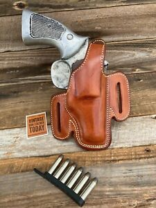 """10 2/"""" LEFT Vintage Alfonso/'s Brown Leather Lined Holster For S/&W Mod"""