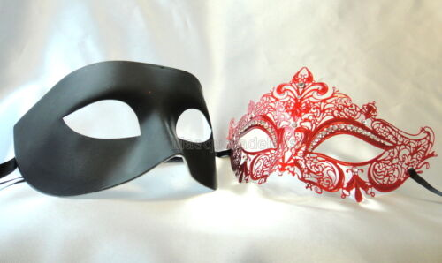 Couple Metal Masquerade Ball Mask Set Wedding Costume School Prom Bachelor Party