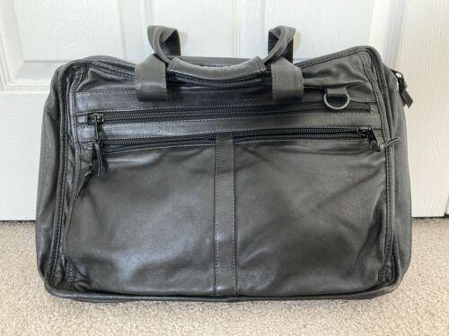 Vintage COLUMBIAN BAGS Black Leather Briefcase/Mes