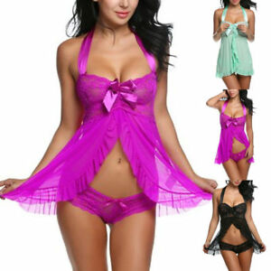Lady-Sexy-Lingerie-Sleepwear-G-string-Dress-Underwear-Babydoll-Panties-Nightwear