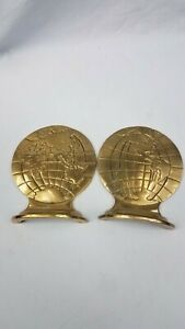 Vintage-Solid-Brass-Set-of-2-Planet-Earth-Map-Globe-World-Bookends-HTF-Rare