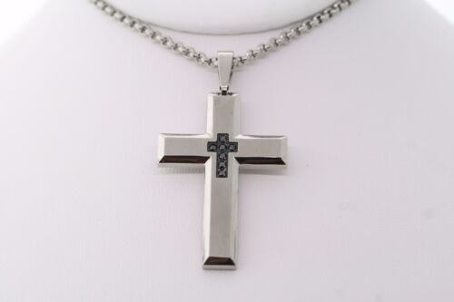 """Stainless Steel .15ctw Treated/Dyed Black Diamond Cross Pendant Necklace 24"""""""