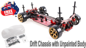 Blaze DFR 1 10 Scale Drift Pre-assembled Chassis w  Unpainted Body shell Red RC