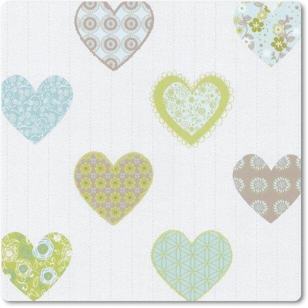 Tapete Kinderzimmer PS Happy Kids 05583-30 Herz Herzen weiß grün blau beige