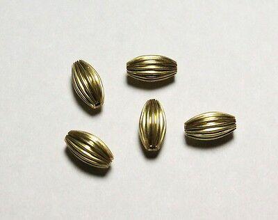100 p 4 x 6 MM Brass Fancy Oval Corrugated Hollow Beads  Pkg 305D4