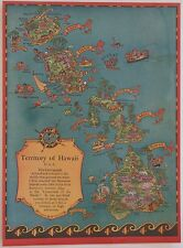 Vintage Original RUTH TAYLOR WHITE 1934 Tourist Map of the Territory of Hawaii
