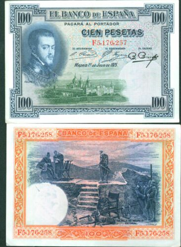 SPAIN 100 PTAS 1925 XF CONDITION REF 2 FELIPE II