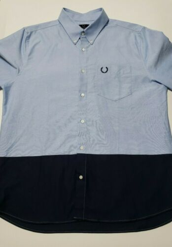 Fred Perry Mens 44 Blue Color Block Oxford Shirt