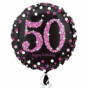 Image Is Loading Pink Celebration 50th Birthday Balloon Sparkle Party