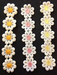 Embroidered Lace Trim Flower Embellishments Three Colours 15 Flowers Total