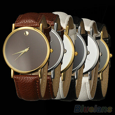 Classic Novelty Women's Men's Unisex Faux Leather Band Quartz Analog Wrist Watch