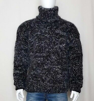 Hand Knitted WOOL MOHAIR mens sweater turtleneck thick hairy soft fuzzy Jumper | eBay