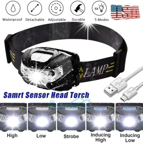 90000lm LED HeadLamp Motion Sensor USB Rechargeable head lamp headlight 5 Modes