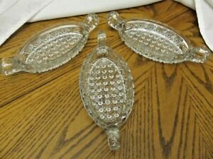Set-3-VINTAGE-EAPG-DAISY-amp-BUTTON-Two-Handle-Glass-Oval-Relish-Serving-Dish-9