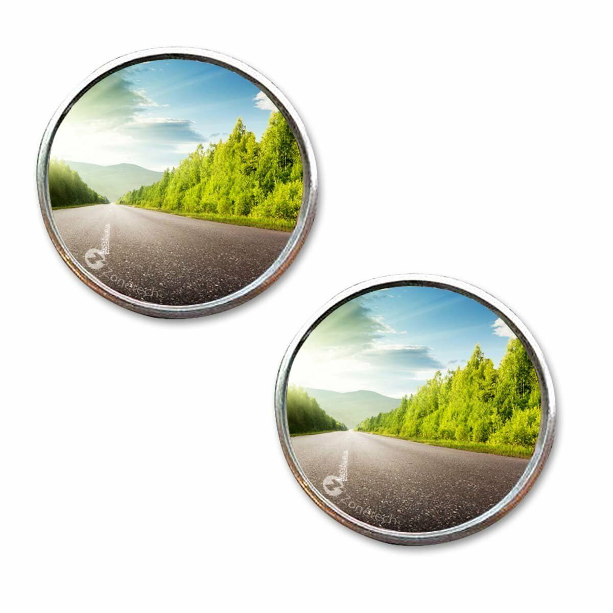 """Zone Tech 2"""" Round Stick On Rear-view Blind Spot Convex Wide Angle Mirrors Car"""