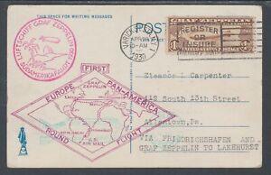 US-Sc-C14-on-1930-Graf-Zeppelin-Flight-Card-First-Europe-Pan-America-Round-Trip