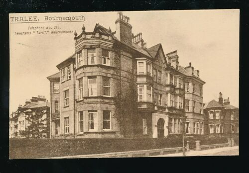 Hampshire Hants BOURNEMOUTH Tralee Hotel Advert used 1932 PPC Lithotone