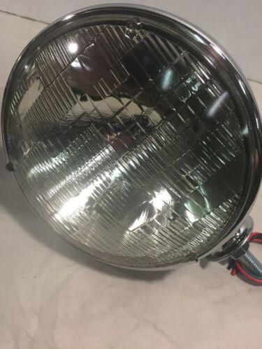 """Pair Dietz 7/"""" Black /& Chrome Street Rod Head Light Sealed Beam Assembly Bullet"""