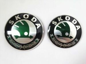 Set of Skoda Boot Bonnet Front Back Emblem Badge Symbol Logo 90mm 80mm New 2pcs