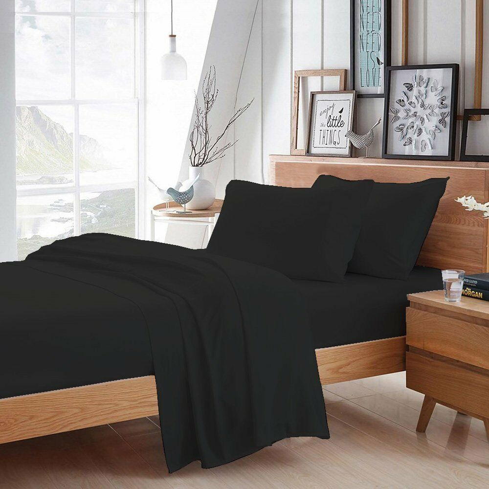 4PCs Attached Waterbed Sheet Set with Pole Attachments Egyptian Cotton 600TC 21