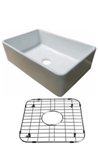 30-034-White-Fireclay-Single-Bowl-Farmhouse-Apron-Kitchen-Sink-Grid-amp-Strainer