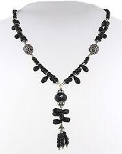 Facetado negro Onyx Y Plata Esterlina perla collar
