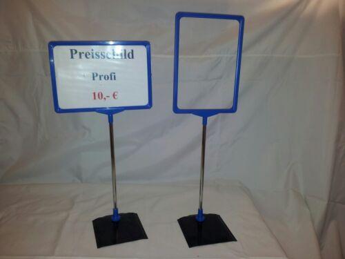 1 x Preisschildhalter Teleskop Preisschildständer Preisaufsteller DIN A5 blau