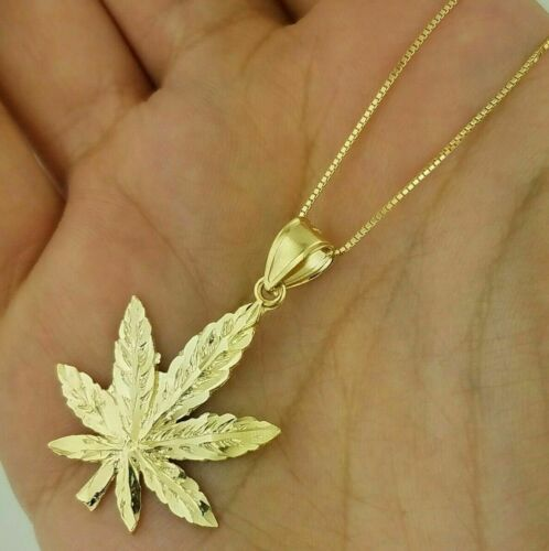 Details about  /Marijuana Cannabis Leaf Large Pendant Weed Pot Charm 14K Yellow Gold