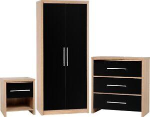 Seville Bedroom Set In Light Oak Veneer And Black High Gloss Bedroom